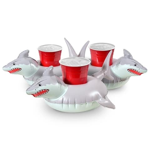 GoFloats Inflatable Shark Drink Holder (3 Pack), Float Your Drinks in Style