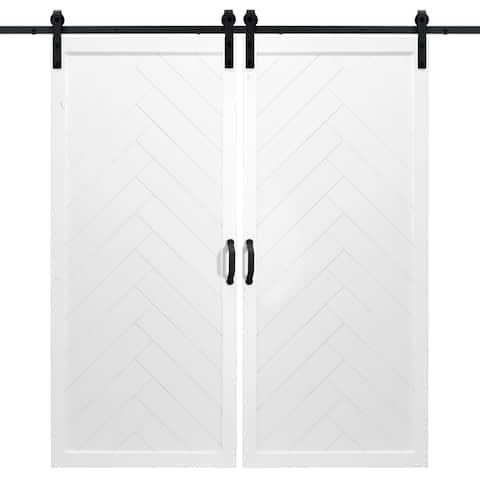 "Herringbone Sliding Double Barn Door With Hardware (36"" x 84"")"