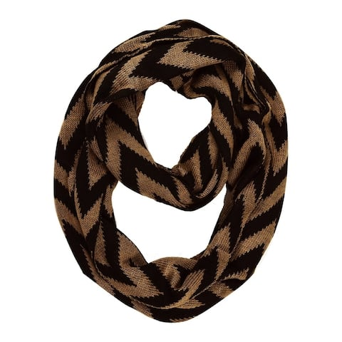 Peach Couture Winter Warm Soft Knit Chevron ZigZag Infinity Loop Scarf