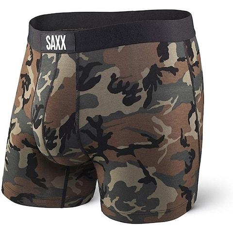 Saxx SXBM35 Men's Vibe Boxer Brief with BallPark Pouch, Woodland Camo, X-Large