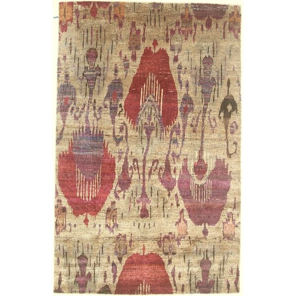 """Modern hand-knotted rug - 4'11"""" X 7'8"""". Opens flyout."""