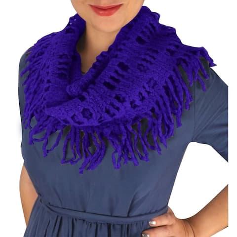 Winter Knitted Rectangular Pattern Fringe Warm Infinity Loop Scarf