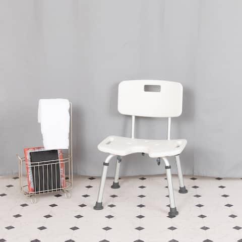 Tool-Free 300 Lb. Capacity, U-Shaped Adjustable White Bath & Shower Chair