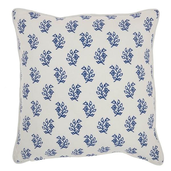 "Mina Victory Life Styles Blue Throw Pillow, (18"" x 18"")"