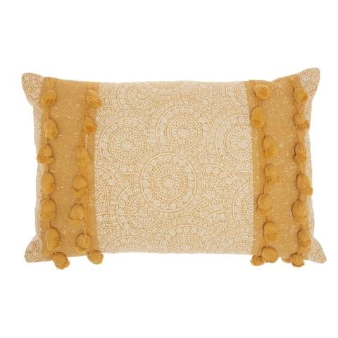 "Mina Victory Life Styles Mustard Throw Pillow, (16"" x 24"")"