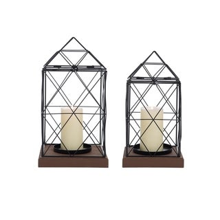 Foreside Home and Garden Geo Lanterns, Set Of 2