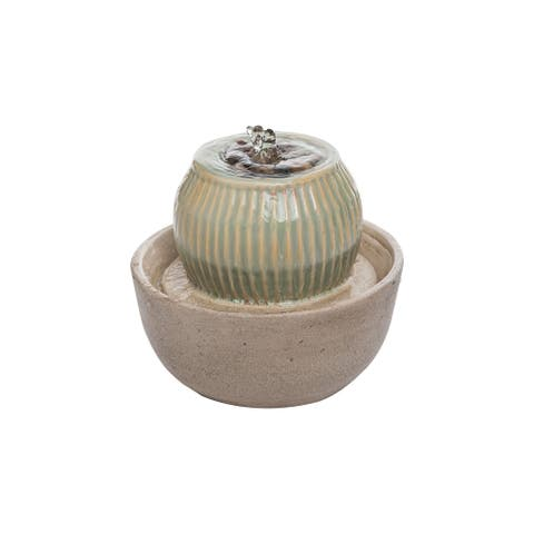 Foreside Home & Garden Green Ombre Ball with Tan Base Indoor Water Fountain With Pump
