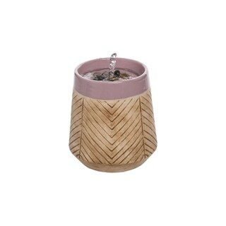 Foreside Home & Garden Tan Herringbone Pattern Purple Rim Indoor Water Fountain with Pump