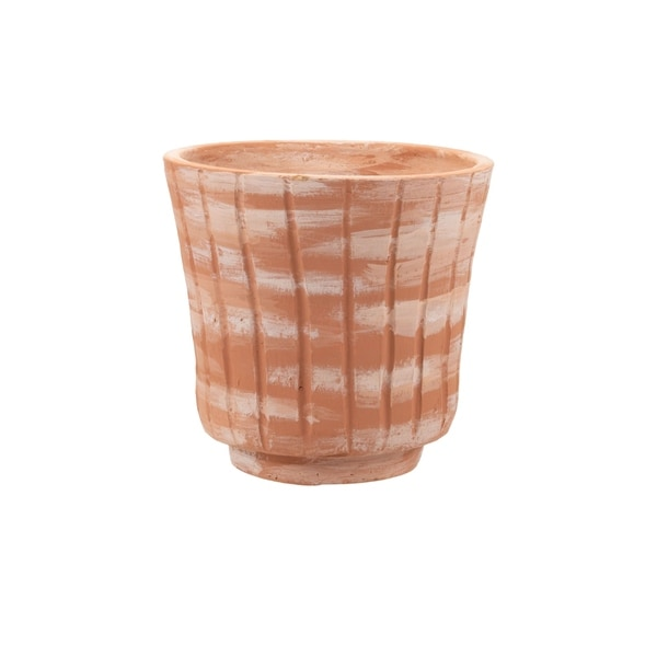 Foreside Home and Garden White Washed Terracotta Planter Large