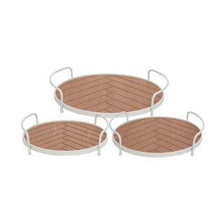 Foreside Home and Garden Routed Wood Trays, Set Of 3