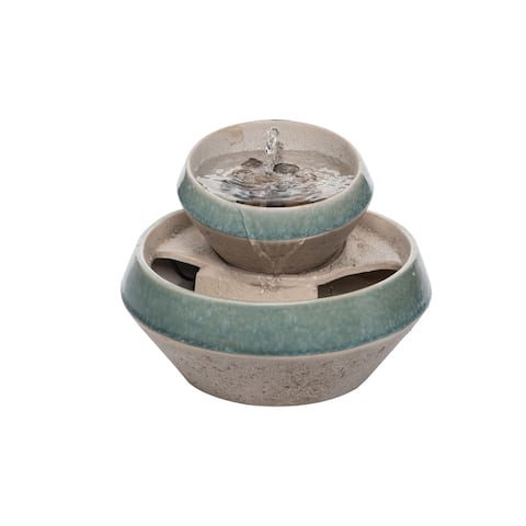 Foreside Home & Garden Teal and Tan Tiered Indoor Water Fountain With Pump