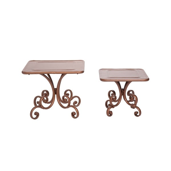 Foreside Home and Garden Copper Scroll Pedestal Risers, Set Of 2