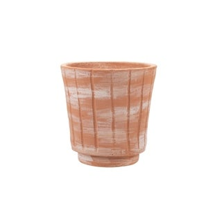Foreside Home and Garden White Washed Terracotta Planter Small