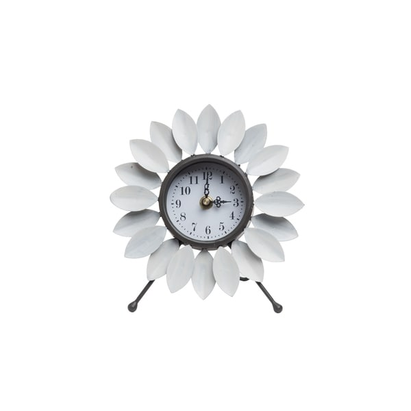 Foreside Home and Garden Flora Tabletop Clock White