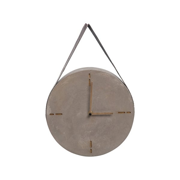 Foreside Home and Garden Concrete Hanging Wall Clock