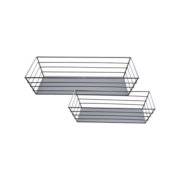 Foreside Home and Garden Wire Sided Trays Black, Set Of 2