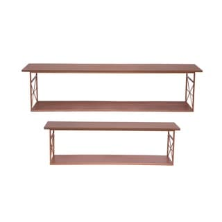 Foreside Home and Garden Copper Geo Shelves, Set Of 2
