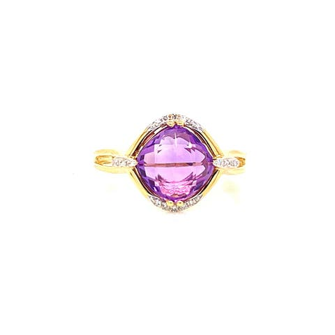 Kabella 14 karat yellow gold quilt cut amethyst and diamond ring