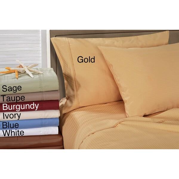 Superior 100-percent Premium Long-staple Combed Cotton 1000 Thread Count Striped Pillowcase Set
