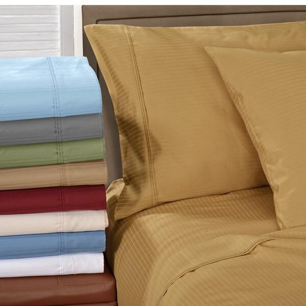 Superior Egyptian Cotton 1000 Thread Count Stripe Pillowcase Set (Set of 2)