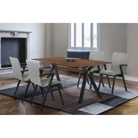 "Laredo 63"" Mid-Century Modern Walnut Wood Dining Table with Black Legs"