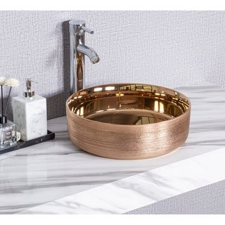 """Link to CB HOME 14"""" Modern Rose Gold Metal Plating Ceramic Round Vessel Basin Similar Items in Sinks"""
