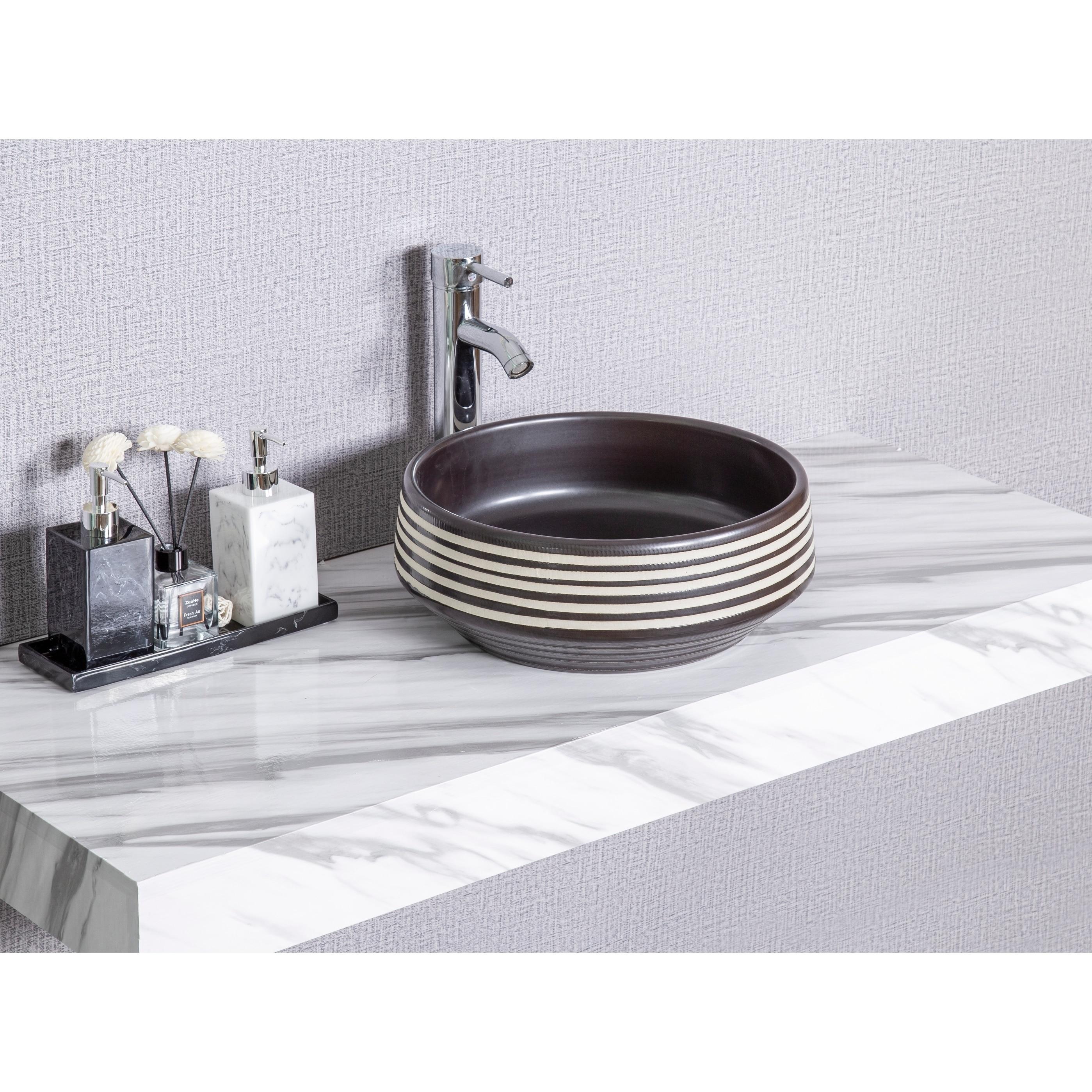 Cb Home Modern Strips Pattern Design Ceramic Basin Round Vessel Sink On Sale Overstock 30717004