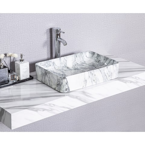 CB HOME Modern Marble Pattern Ceramic Basin Rectangle Vessel Sink