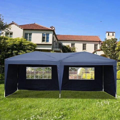 Outdoor 3 x 6m Two Windows Practical Waterproof Folding Tent Blue