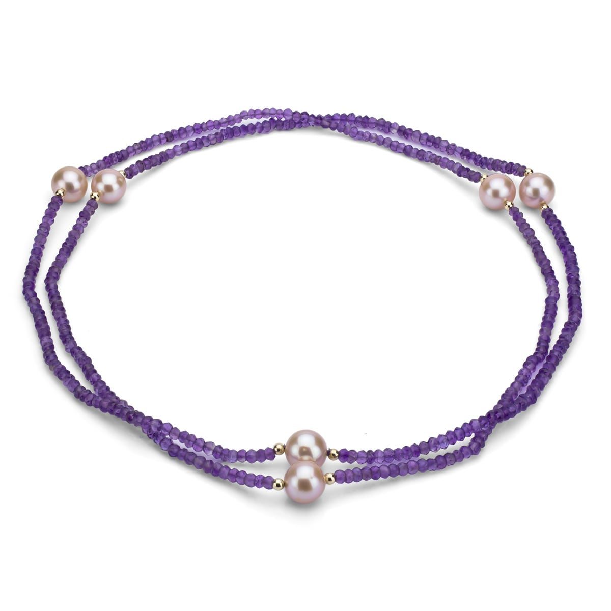 DaVonna 14k Gold Amethyst/ Pink FW 11-12mm Pearl Necklace...
