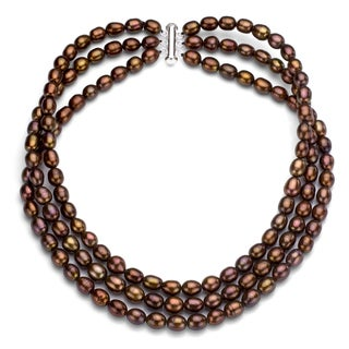 DaVonna Silver Brown FW Pearl 3-strand Necklace (7-7.5 mm)
