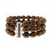 DaVonna Silver Brown FW Pearl 3-row Bracelet (7-7.5 mm)