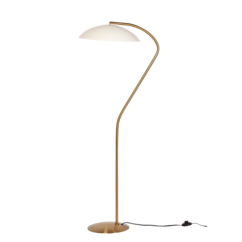 Carson Carrington Hogdalen Mid Century Modern Matte White Task Brass Floor Lamp Overstock 30719433