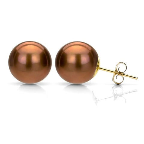 DaVonna 14k Yellow Gold Brown FW Pearl Stud Earrings (7-7.5 mm)