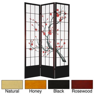 Handmade Wood and Rice Paper Cherry Blossom 84-inch Shoji Screen (China)