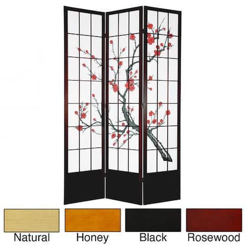 Handmade Wood and Rice Paper Cherry Blossom 84-inch Shoji Screen (China)