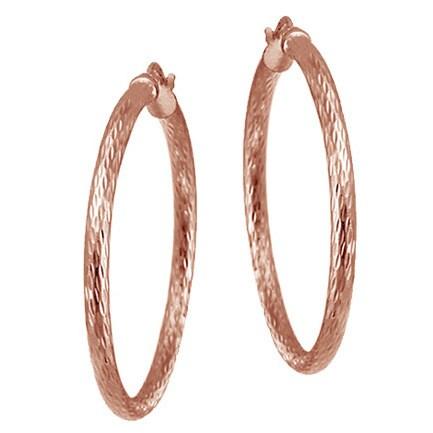 Mondevio Sterling Silver 35 Mm Diamond Cut Hoop Earrings
