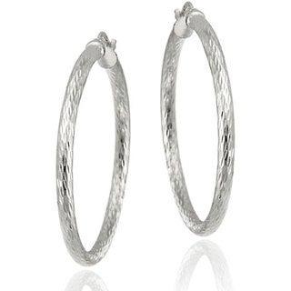 Mondevio Sterling Silver 35 mm Diamond-cut Hoop Earrings