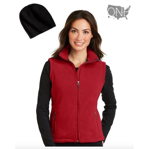 Women's Athletic Fleece Vest Red Sz Small with Beanie Black