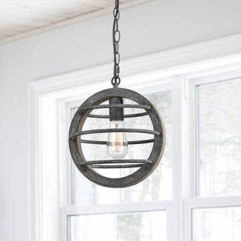 Alba Vintage Industrial Oak Wood and Metal Pendant Light - N/A