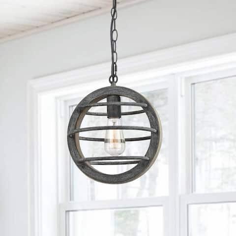 Alba Vintage Industrial Oak Wood and Metal Pendant Light - N/A