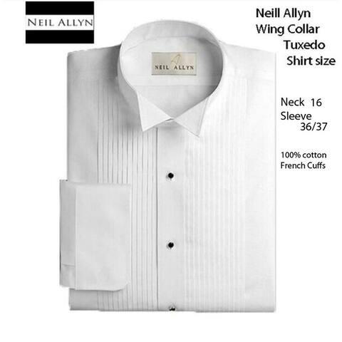 Men's Wing Collar Tuxedo Shirt, Size 16 Neck 36/37 Sleeve - Medium