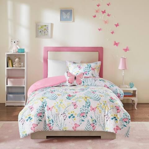 Mi Zone Kids Caroline Pink Printed Butterfly Comforter Set