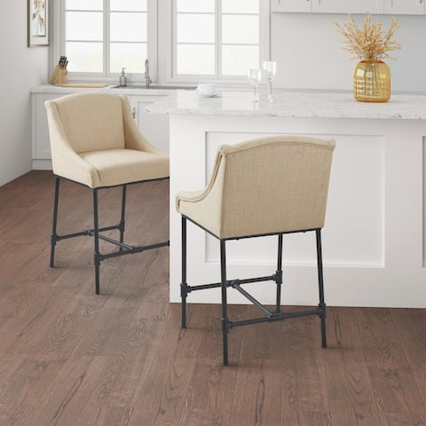 Madison Park Geneva Beige Counter Stool