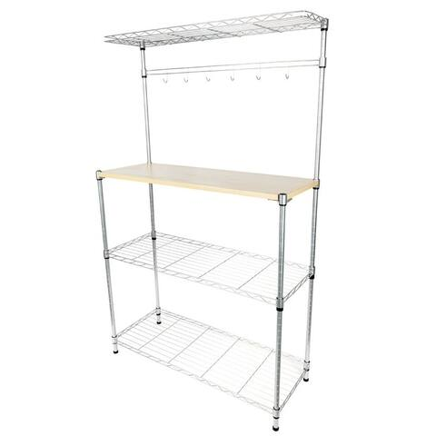 Baker's Rack Microwave Oven Rack Shelving Storage with Wood Cutting Board