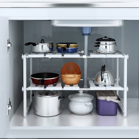 Classic Korean-style Stainless Steel Shelving Multi-functional Kitchen Sink Rack Shelf White