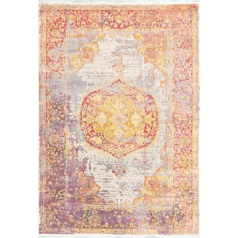 Vintage Style Floral Distressed Heat-Set Turkish Oriental Area Rugs