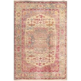 Floral Turkish Oriental Vintage Style Distressed Heat-Set Area Rugs