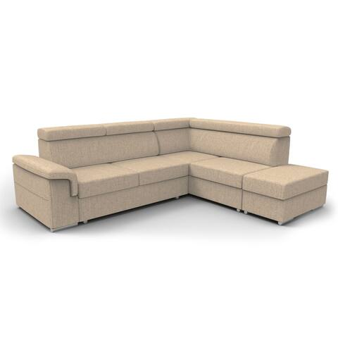 Conor Futon Sectional Sofa Bed with Pouf Ottoman