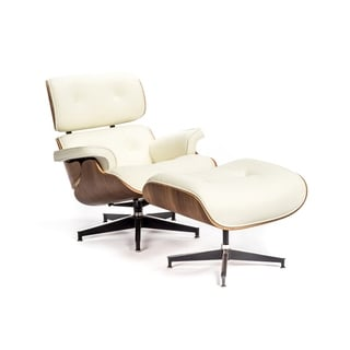 Elite Living Charles Top Grain Leather Lounge and Ottoman (White)